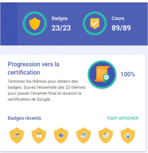 Suivi du programme digital active de google