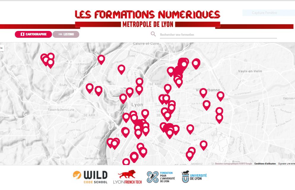 la carte des formations - Cartographie interactive des formations en numérique en RAA
