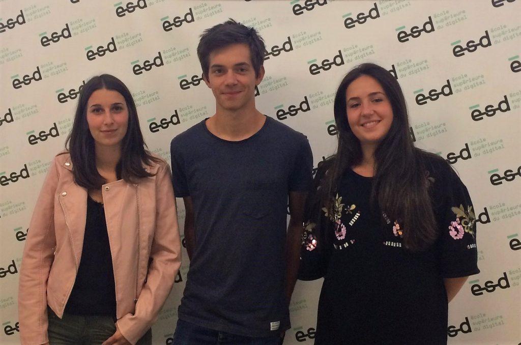 Charlène, Malo et Léa étudient à l'ESD