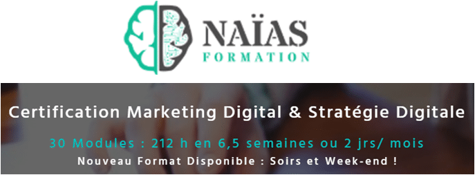 formation certifiante marketing digital Naias